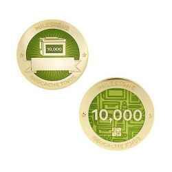 Milestone Geocoin + Tag Set (2 Trackables) - 10.000 Finds