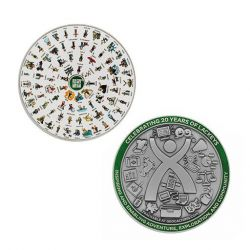 2020 Lackey XXL Geocoin + Tag Set Antik Silber (2 Trackables)
