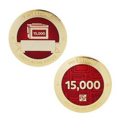 Milestone Geocoin + Tag Set (2 Trackables) - 15.000 Finds