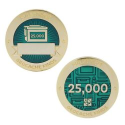 Milestone Geocoin + Tag Set (2 Trackables) - 25.000 Finds