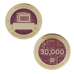 Milestone Geocoin + Tag Set (2 Trackables) - 30.000 Finds