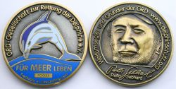 Save the Dolphins Geocoin Two Tone LE (CHARITY)