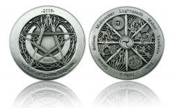 Wheel of the Year 2008 Geocoin Antik Silber