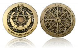 Wheel of the Year 2008 Geocoin Antique Gold