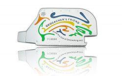 Geocacher's Friend Geocoin Poliertes Silber