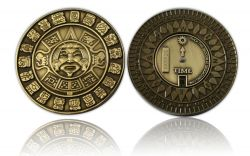 Suncompass Geocoin Antik Gold
