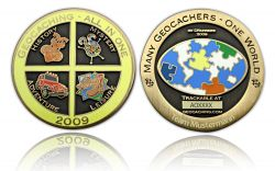 Geocaching - All In One GC 2009 Antik Gold -MIT GRAVUR-