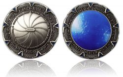 SpaceGate Geocoin Antik Silber