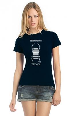 Cacher-Travelbug-T-Shirt Damen schwarz mit Teamnamen