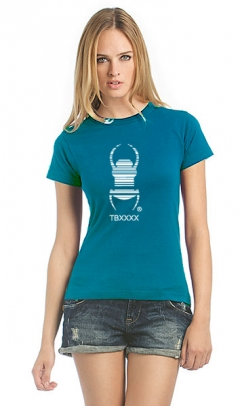 Cacher-Travelbug-T-Shirt Damen blau