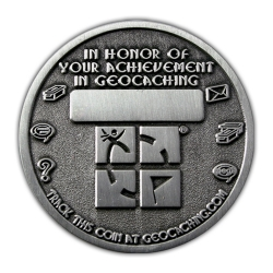 Geo Award Geocoin - 1000 Finds Back