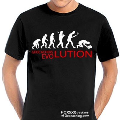 Geocaching T-Shirt Geocacher's Evolution trackbar