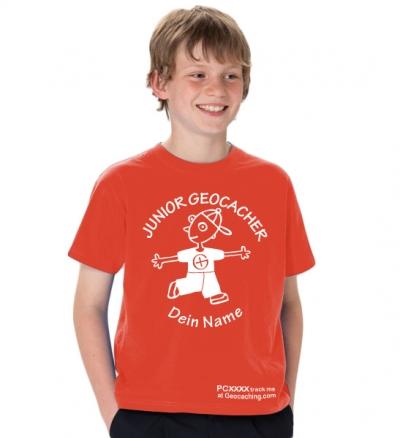 Junior Geocacher T-Shirt trackbar und mit Teamname