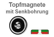 Flachgreifer-Topfmagnete mit Bohrung und Senkung