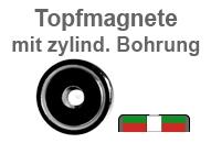 Flachgreifer-Topfmagnete mit Zylinderbohrung