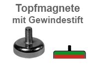 Flachgreifer-Topfmagnete mit Gewindestift
