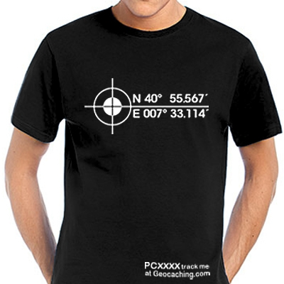 Koordinaten Geocaching T-Shirt -trackbar-