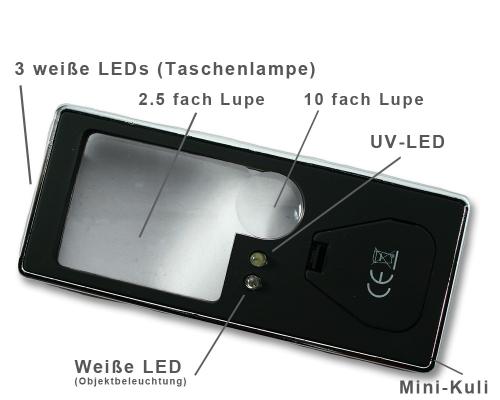 Leuchtturm 5 in 1 Lupe -Funktionen-