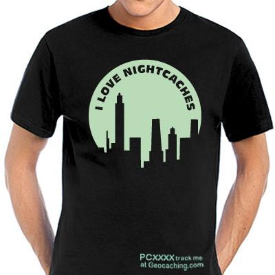 Geocaching T-Shirt I Love Nightcaches trackbar