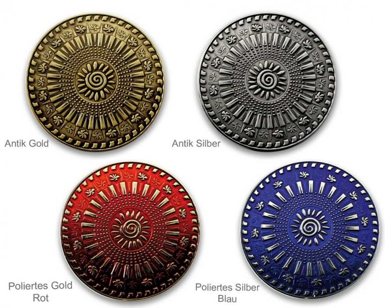 Der PERSONAL Geocoin in verschiedenen Metall- und Farbversionen -die Vorderseite gestaltest Du-