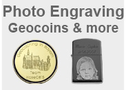 Geocoins with individual Engraving and Photoengraving
